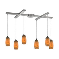Favelita 6 Light 33 inch Satin Nickel Pendant Ceiling Light in Honey Melon Glass
