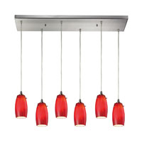 Favelita 6 Light 30 inch Satin Nickel Pendant Ceiling Light in Candy Glass