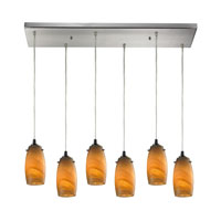 Favelita 6 Light 30 inch Satin Nickel Pendant Ceiling Light in Honey Melon Glass