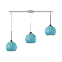 Cassandra 3 Light 36 inch Polished Chrome Pendant Ceiling Light in Aqua Glass