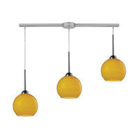 Cassandra 3 Light 36 inch Polished Chrome Pendant Ceiling Light in Lemon Glass