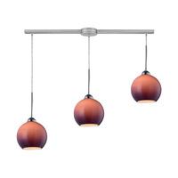 Cassandra 3 Light 36 inch Polished Chrome Pendant Ceiling Light in Purple Glass