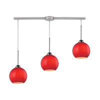 ELK 10240/3L-VERM Cassandra 3 Light 36 inch Polished Chrome Pendant Ceiling Light in Vermilion Glass photo thumbnail
