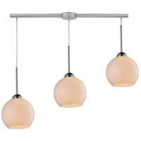 Cassandra 3 Light 36 inch Polished Chrome Pendant Ceiling Light in White Glass