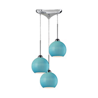 Cassandra 3 Light 10 inch Polished Chrome Pendant Ceiling Light in Aqua Glass