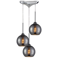Cassandra 3 Light 10 inch Polished Chrome Pendant Ceiling Light in Chrome Glass