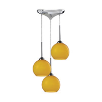 Cassandra 3 Light 10 inch Polished Chrome Pendant Ceiling Light in Lemon Glass