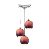 Cassandra 3 Light 10 inch Polished Chrome Pendant Ceiling Light in Purple Glass