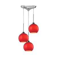 Cassandra 3 Light 10 inch Polished Chrome Pendant Ceiling Light in Vermilion Glass
