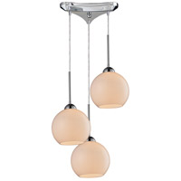Cassandra 3 Light 10 inch Polished Chrome Pendant Ceiling Light in White Glass