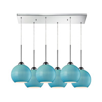 Cassandra 6 Light 30 inch Polished Chrome Pendant Ceiling Light in Aqua Glass