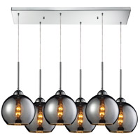 Cassandra 6 Light 30 inch Polished Chrome Pendant Ceiling Light in Chrome Glass