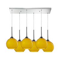 Cassandra 6 Light 30 inch Polished Chrome Pendant Ceiling Light in Lemon Glass