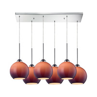 Cassandra 6 Light 30 inch Polished Chrome Pendant Ceiling Light in Purple Glass
