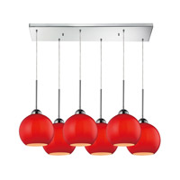 Cassandra 6 Light 30 inch Polished Chrome Pendant Ceiling Light in Vermilion Glass