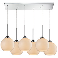 ELK 10240/6RC-WH Cassandra 6 Light 30 inch Polished Chrome Pendant Ceiling Light in White Glass photo thumbnail