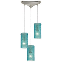Ice Fragments 3 Light 10 inch Satin Nickel Pendant Ceiling Light in Aqua, Triangular Canopy