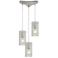 Ice Fragments 3 Light 10 inch Satin Nickel Pendant Ceiling Light in Clear, Triangular Canopy