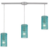 Ice Fragments 3 Light 36 inch Satin Nickel Linear Pendant Ceiling Light in Aqua, Linear with Recessed Adapter