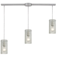Ice Fragments 3 Light 36 inch Satin Nickel Linear Pendant Ceiling Light in Clear, Linear with Recessed Adapter