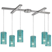 Ice Fragments 6 Light 17 inch Satin Nickel Pendant Ceiling Light in Aqua, Light Bar