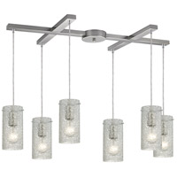 Ice Fragments 6 Light 17 inch Satin Nickel Pendant Ceiling Light in Clear, Light Bar