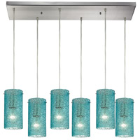 Ice Fragments 6 Light 9 inch Satin Nickel Pendant Ceiling Light in Aqua, Rectangular Canopy