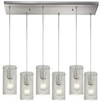 Ice Fragments 6 Light 9 inch Satin Nickel Pendant Ceiling Light in Clear, Rectangular Canopy