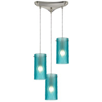 Synthesis 3 Light 10 inch Satin Nickel Pendant Ceiling Light in Frosted Aqua Glass