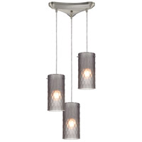 Synthesis 3 Light 10 inch Satin Nickel Pendant Ceiling Light in Frosted Smoke Glass