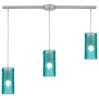 Synthesis 3 Light 36 inch Satin Nickel Pendant Ceiling Light in Frosted Aqua Glass