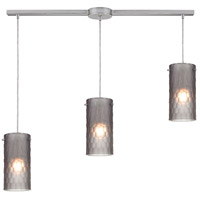 Synthesis 3 Light 36 inch Satin Nickel Pendant Ceiling Light in Frosted Smoke Glass