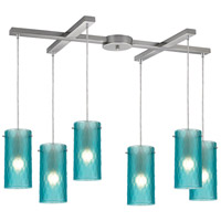 Synthesis 6 Light 33 inch Satin Nickel Pendant Ceiling Light in Frosted Aqua Glass