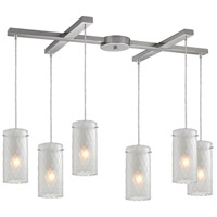 Synthesis 6 Light 33 inch Satin Nickel Pendant Ceiling Light in Frosted Clear Glass