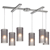 Synthesis 6 Light 33 inch Satin Nickel Pendant Ceiling Light in Frosted Smoke Glass
