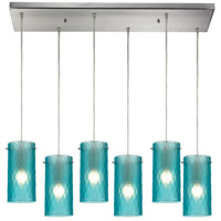 Synthesis 6 Light 30 inch Satin Nickel Pendant Ceiling Light in Frosted Aqua Glass