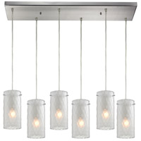 Synthesis 6 Light 30 inch Satin Nickel Pendant Ceiling Light in Frosted Clear Glass