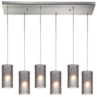 Synthesis 6 Light 30 inch Satin Nickel Pendant Ceiling Light in Frosted Smoke Glass