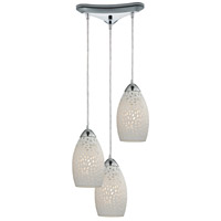 ELK 10245/3 Etched Glass 3 Light 10 inch Polished Chrome Mini Pendant Ceiling Light in Triangular Canopy Triangular
