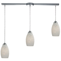 ELK 10245/3L Etched Glass 3 Light 36 inch Polished Chrome Linear Pendant Ceiling Light in Linear with Recessed Adapter