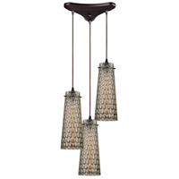 ELK 10248/3 Jerard 3 Light 10 inch Oil Rubbed Bronze Mini Pendant Ceiling Light in Triangular Canopy, Triangular