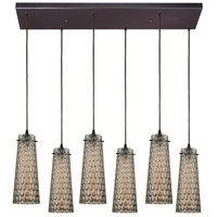 ELK 10248/6RC Jerard 6 Light 9 inch Oil Rubbed Bronze Mini Pendant Ceiling Light in Rectangular Canopy, Rectangular