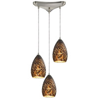 Geval 3 Light 10 inch Burnished Copper Pendant Ceiling Light in Triangular Canopy