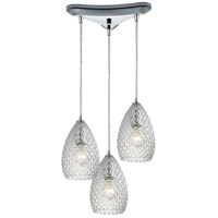 Geval 3 Light 10 inch Polished Chrome Pendant Ceiling Light in Clear Glass