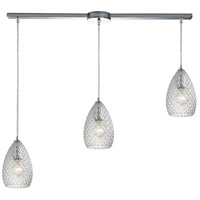 Geval 3 Light 36 inch Polished Chrome Pendant Ceiling Light in Clear Glass