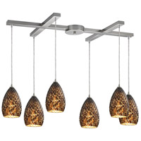 Geval 6 Light 17 inch Burnished Copper Pendant Ceiling Light in Light Bar