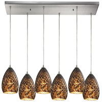 Geval 6 Light 9 inch Burnished Copper Pendant Ceiling Light in Rectangular Canopy