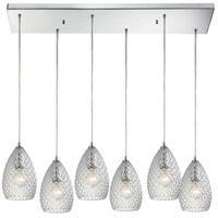 Geval 6 Light 30 inch Polished Chrome Pendant Ceiling Light in Clear Glass