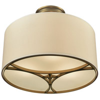 Pembroke 3 Light 16 inch Brushed Antique Brass Semi Flush Mount Ceiling Light