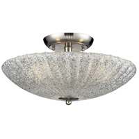 Luminese 3 Light 16 inch Satin Nickel Semi-Flush Mount Ceiling Light